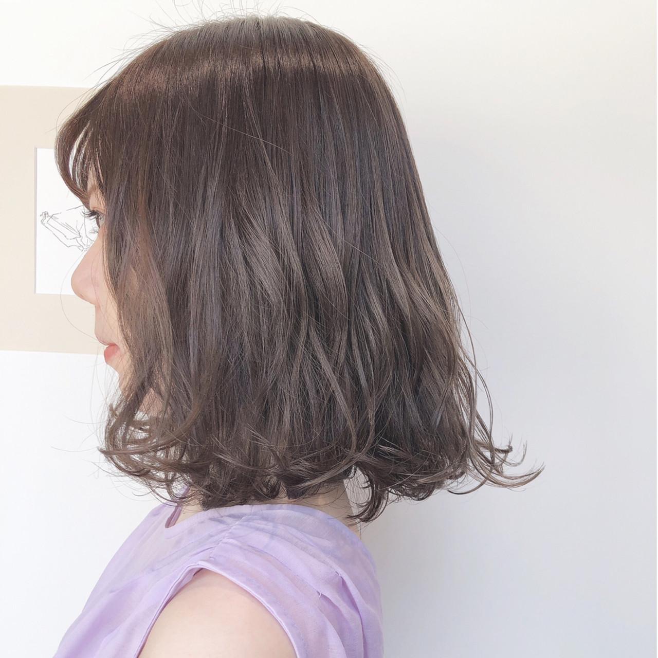 ナチュラル 簡単ヘアアレンジ ボブ ミルクティーベージュ ヘアスタイルや髪型の写真・画像