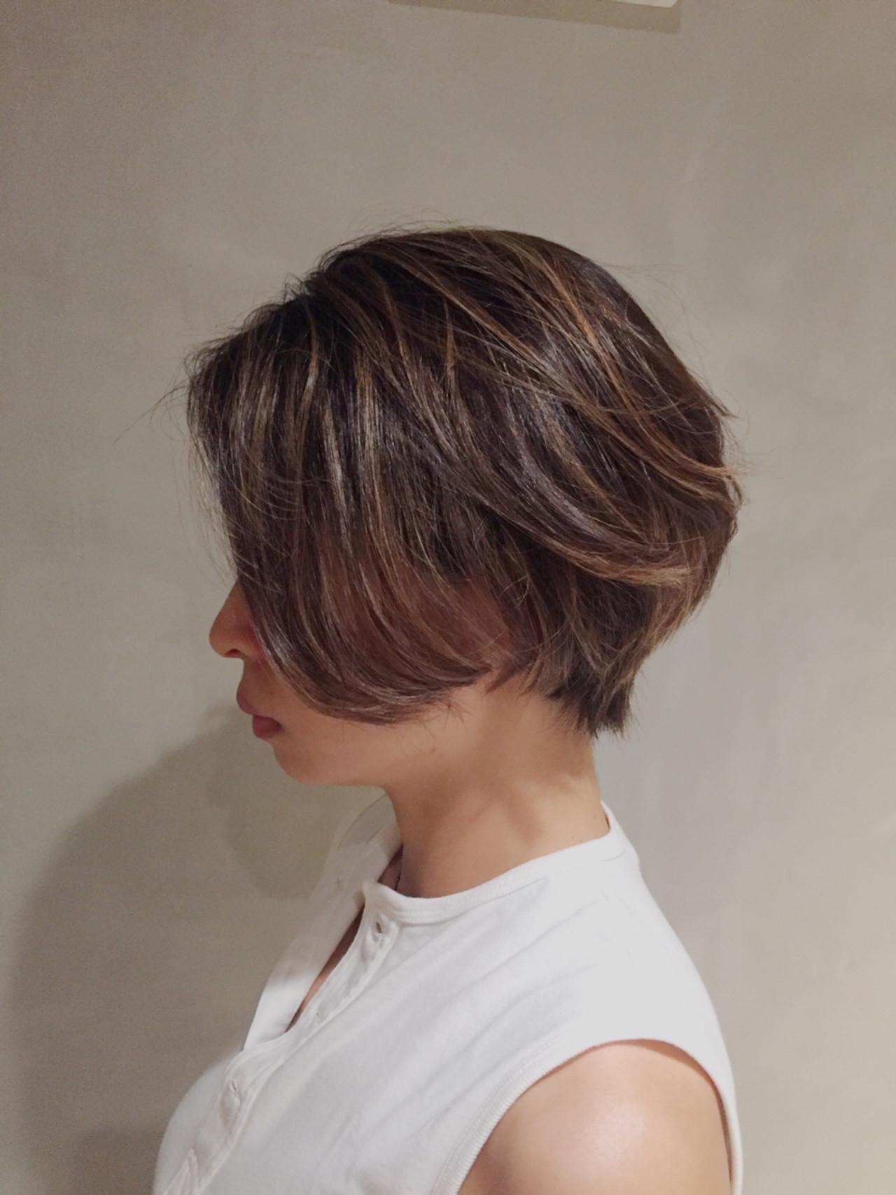 ショートボブ ハイライト ナチュラル ボブ ヘアスタイルや髪型の写真・画像 | 大橋 史明 / BRICK.S
