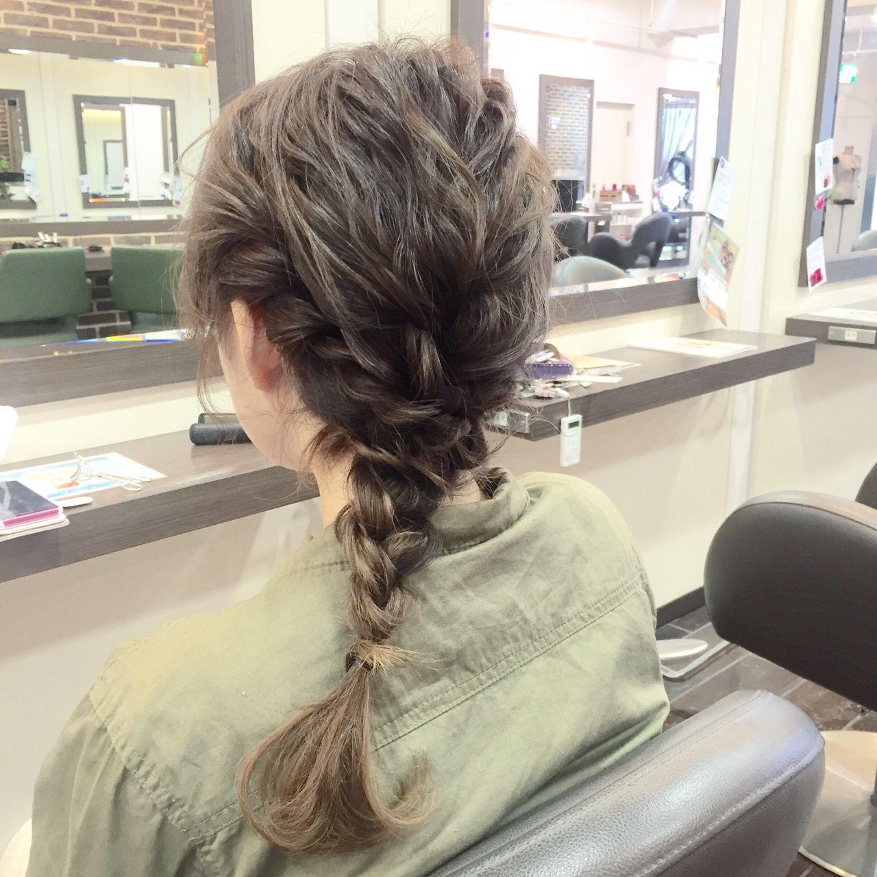 簡単ヘアアレンジ 編み込み 大人かわいい ルーズ ヘアスタイルや髪型の写真・画像