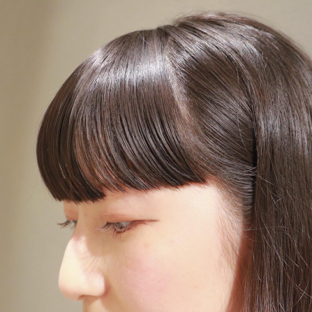 モード ナチュラル 前髪あり ワイドバング ヘアスタイルや髪型の写真・画像