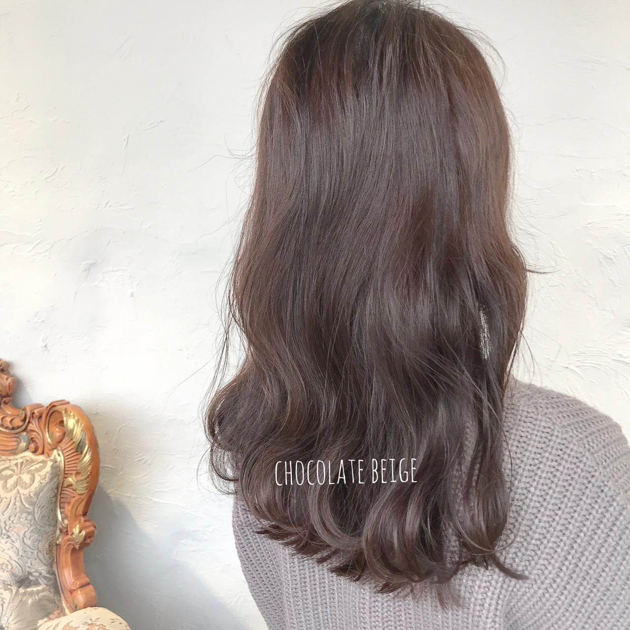 ミルクティーベージュ ブルーアッシュ セミロング ショコラブラウン ヘアスタイルや髪型の写真・画像 | aya / RITA&Co.大宮東口店