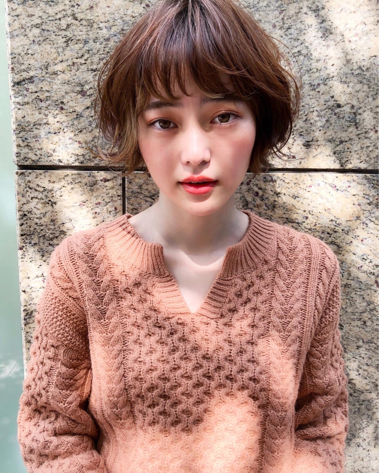 無造作パーマ ゆるふわパーマ デジタルパーマ ボブ ヘアスタイルや髪型の写真・画像