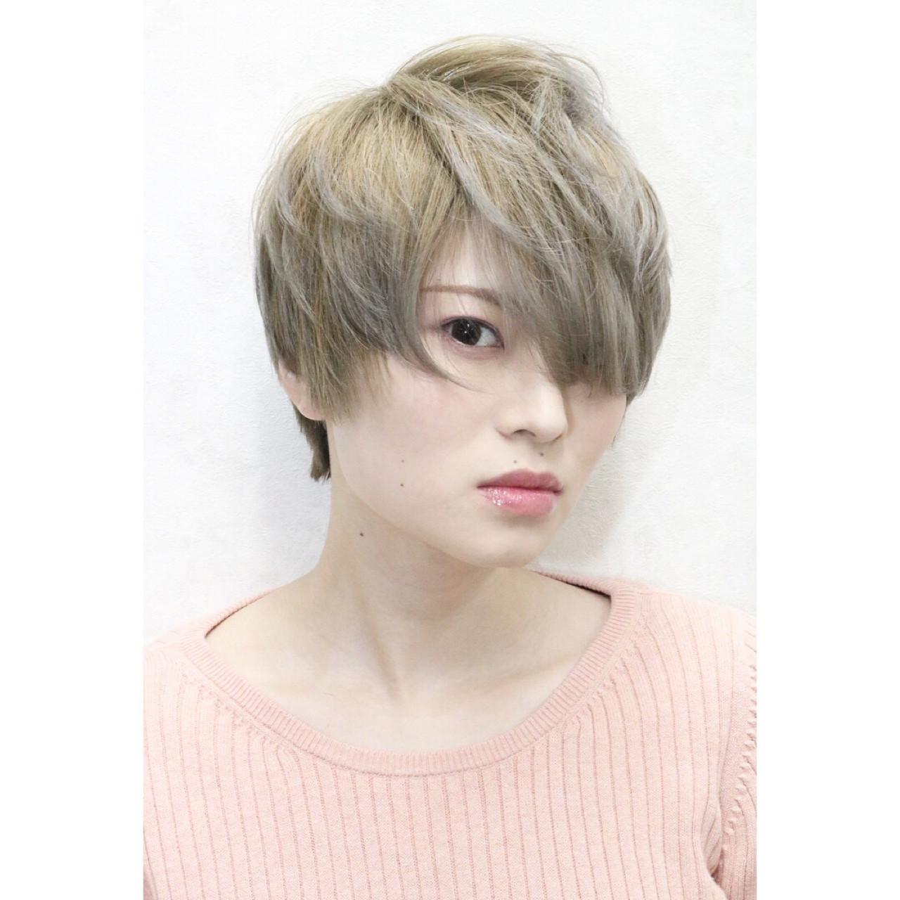 グラデーションカラー 外国人風 ハイトーン ショート ヘアスタイルや髪型の写真・画像