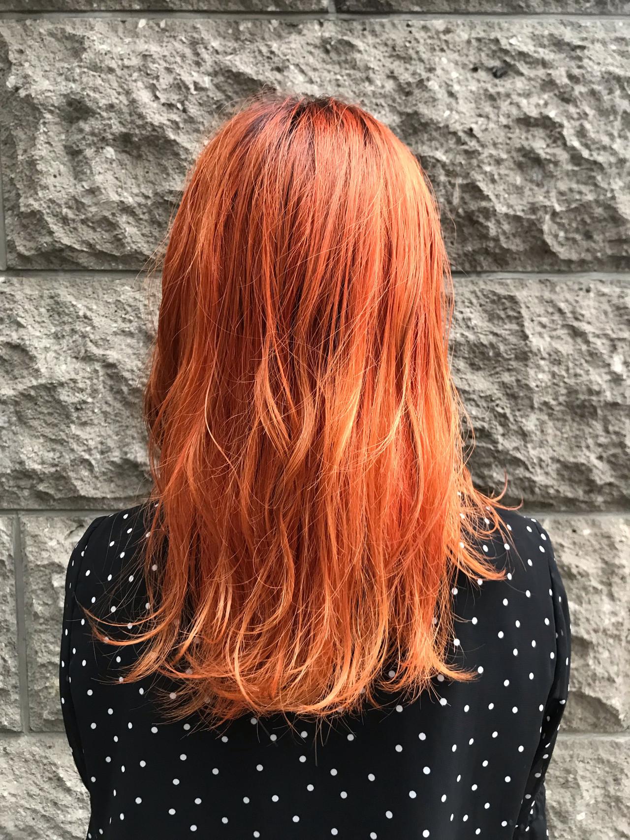 アプリコットオレンジ オレンジ オレンジブラウン オレンジベージュ ヘアスタイルや髪型の写真・画像