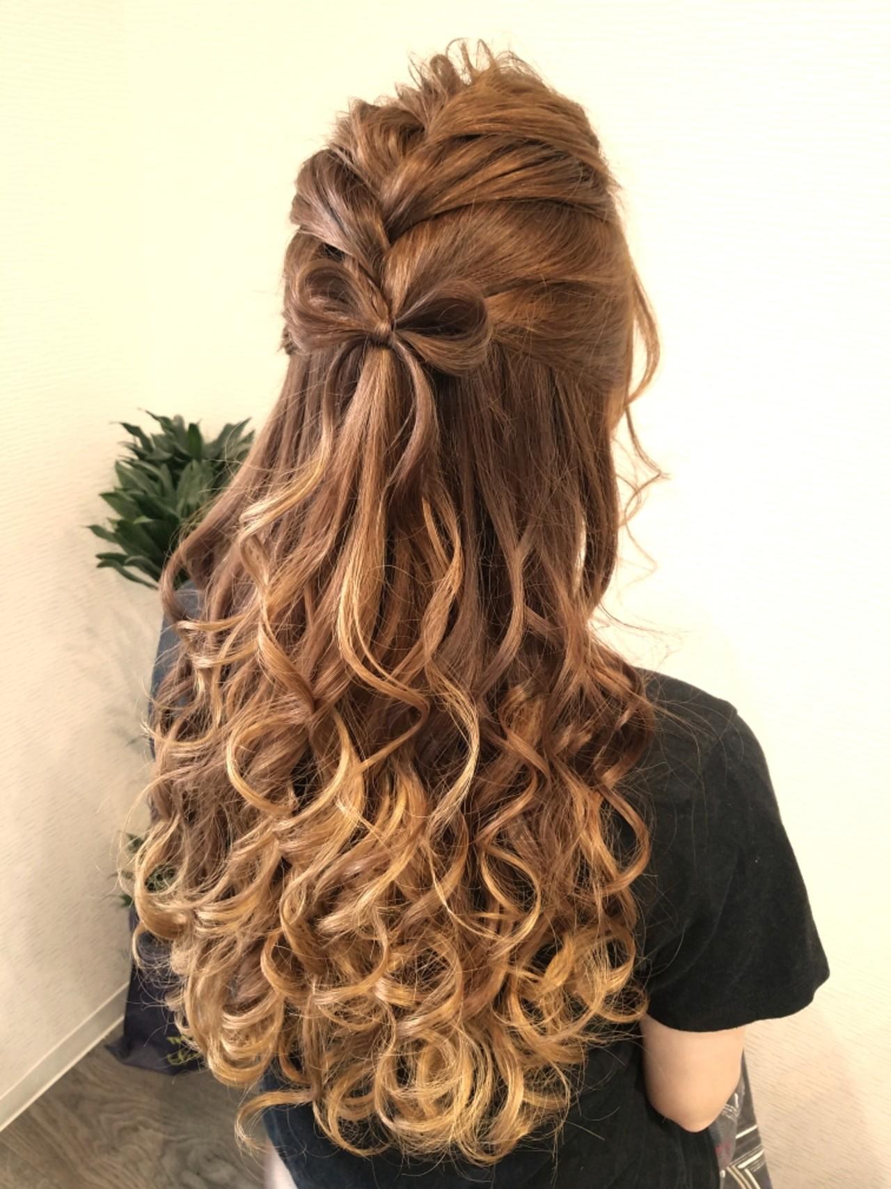 編み込み ヘアアレンジ フェミニン ハーフアップ ヘアスタイルや髪型の写真・画像 | mai / HAIR SALON STELLA