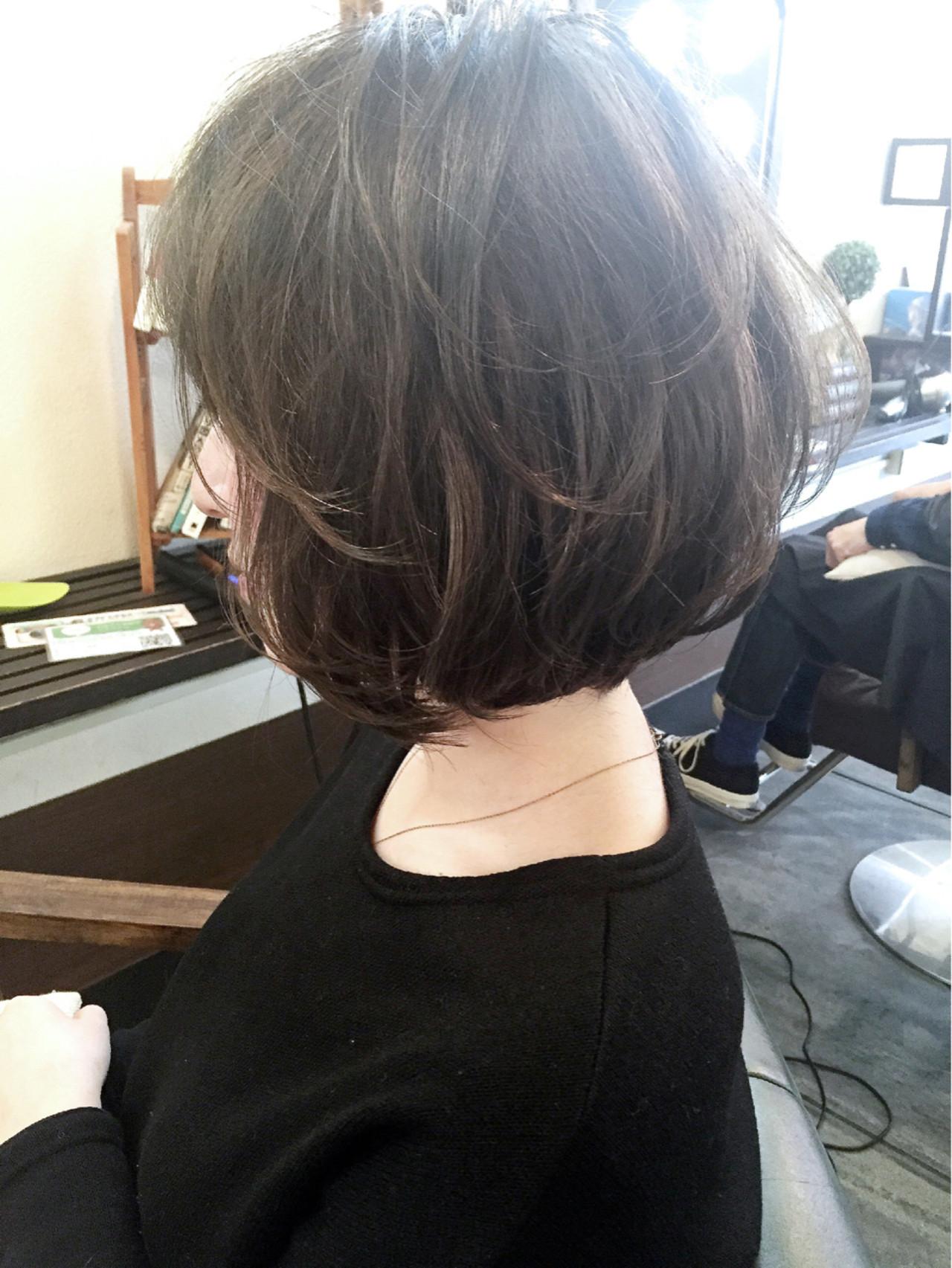 暗髪 前下がり ボブ ワンカール ヘアスタイルや髪型の写真・画像