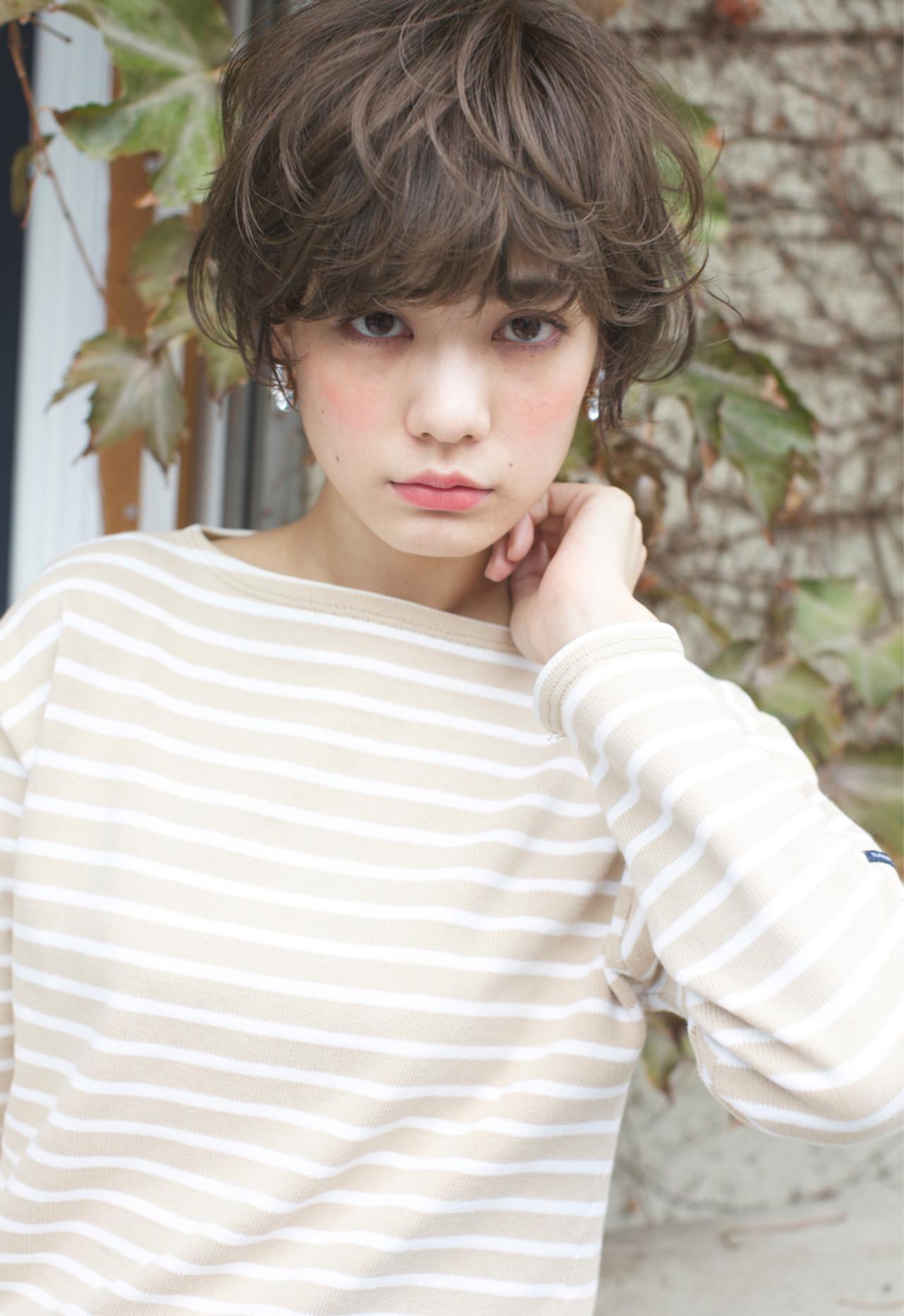 パーマ 外国人風 大人かわいい ショート ヘアスタイルや髪型の写真・画像