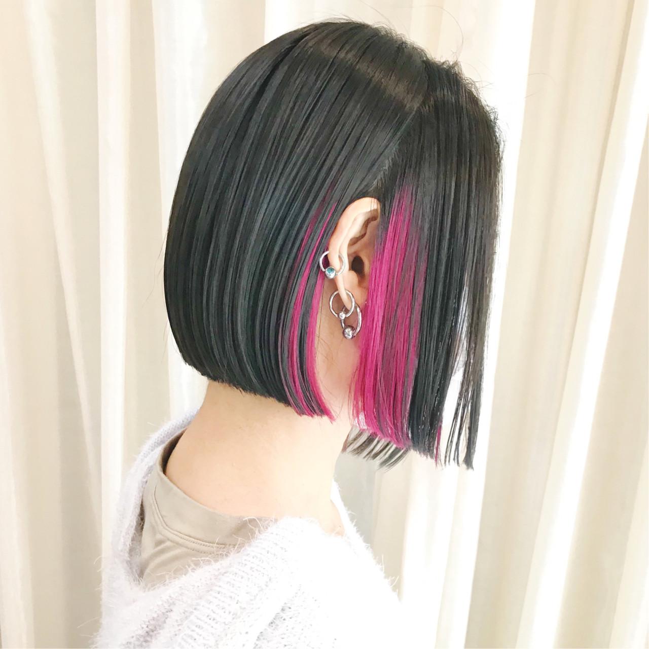 インナーカラー ベリーピンク ミニボブ ラベンダーピンク ヘアスタイルや髪型の写真・画像