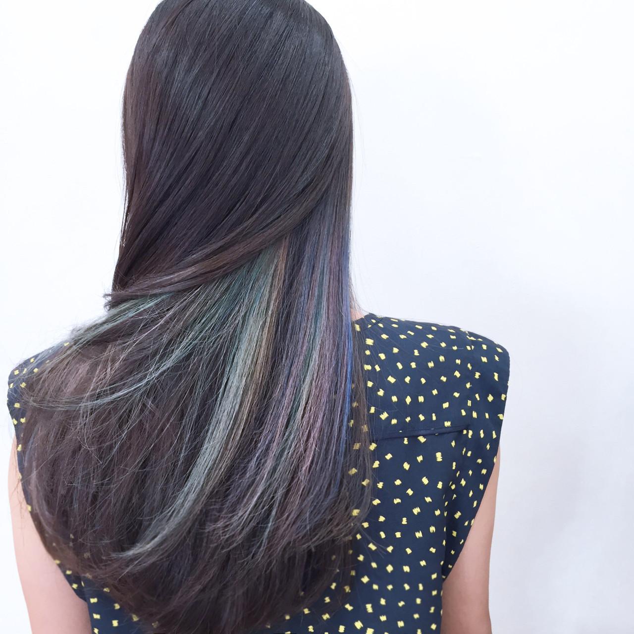 ハイライト モード 暗髪 ロング ヘアスタイルや髪型の写真・画像 | YSO / 電髪倶楽部street