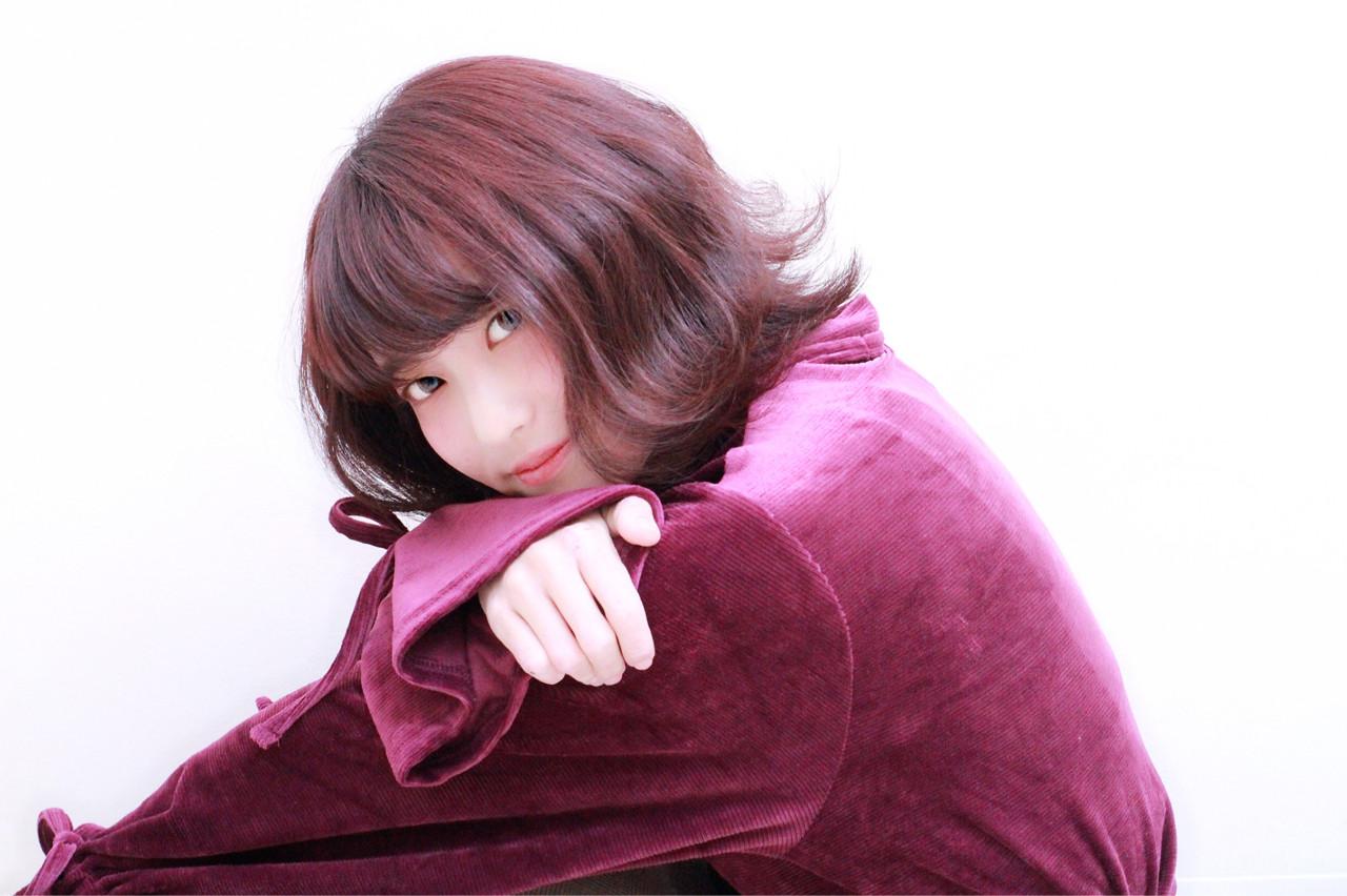 外ハネ レッド エレガント モーブ ヘアスタイルや髪型の写真・画像 | SHUHEI / hairsalon 7(Na-na)