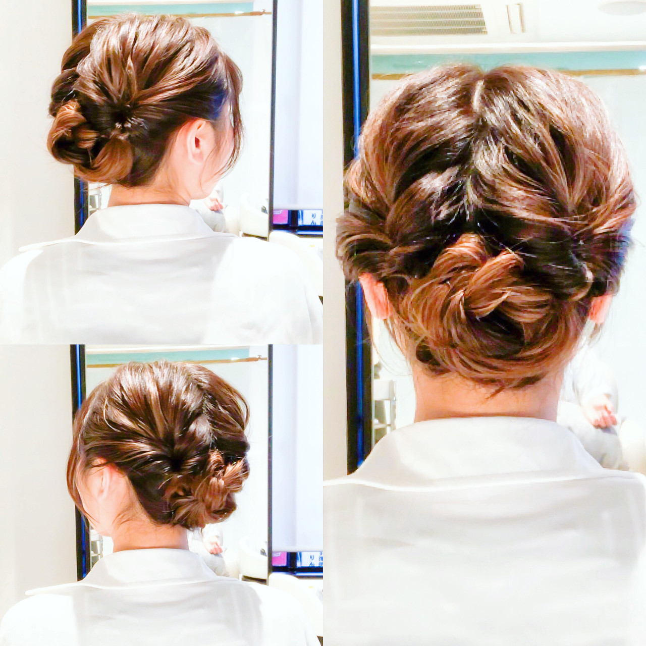 セルフには見えない❤️ お洒落風なヘアアレンジ? ☆ ☆やり方☆ 1.耳上までを左右に分けます‼️ 2.左右をそれぞれ結びくるりんぱします‼️ 3.残りの髪を左右に分けます‼️ 4.そのままロープねじりします‼️ 5.毛先を丸めてピン留めしたら完成です‼️