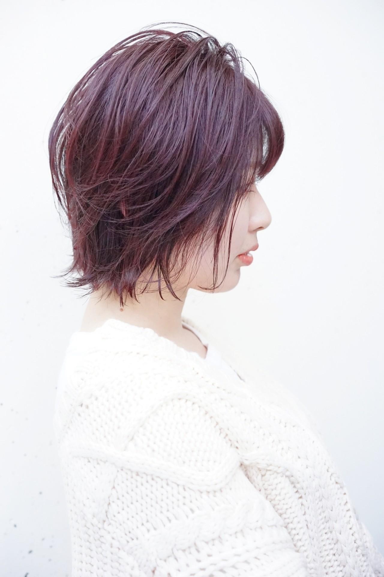 ショートヘア ピンク 大人かわいい ナチュラル ヘアスタイルや髪型の写真・画像   菊地 博之 / ジュノ