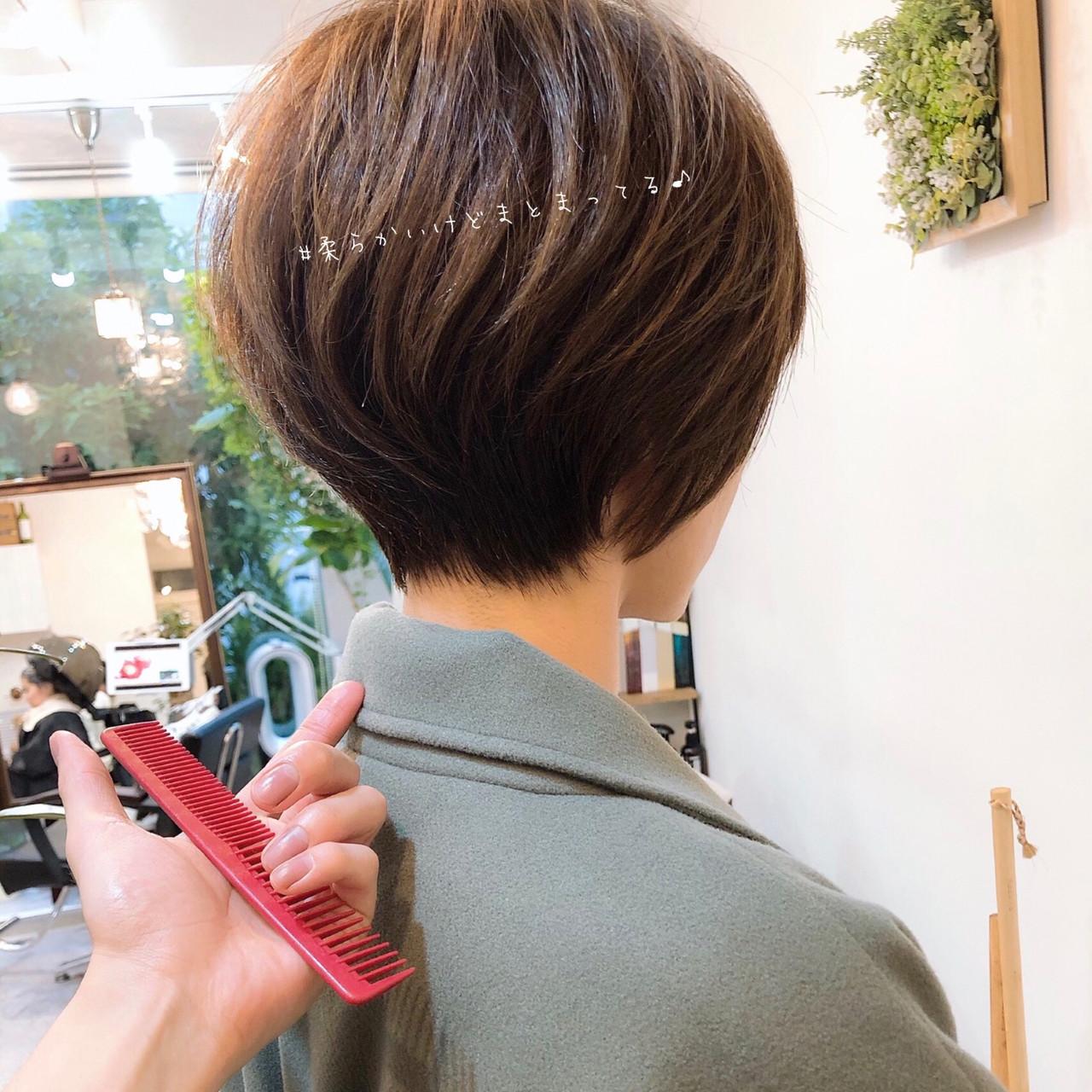 丸みショート ナチュラル ショートボブ ショート ヘアスタイルや髪型の写真・画像   大上海人 / LAS omotesando