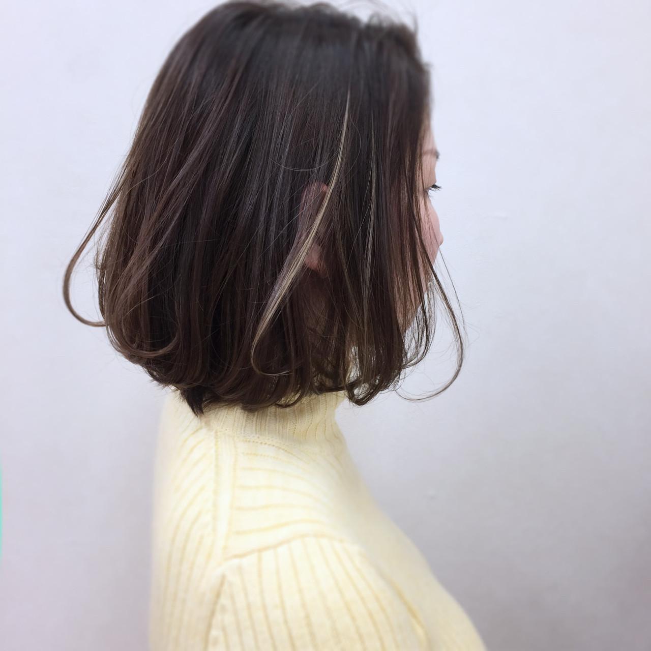 ボブ 暗髪 アッシュ ニュアンス ヘアスタイルや髪型の写真・画像