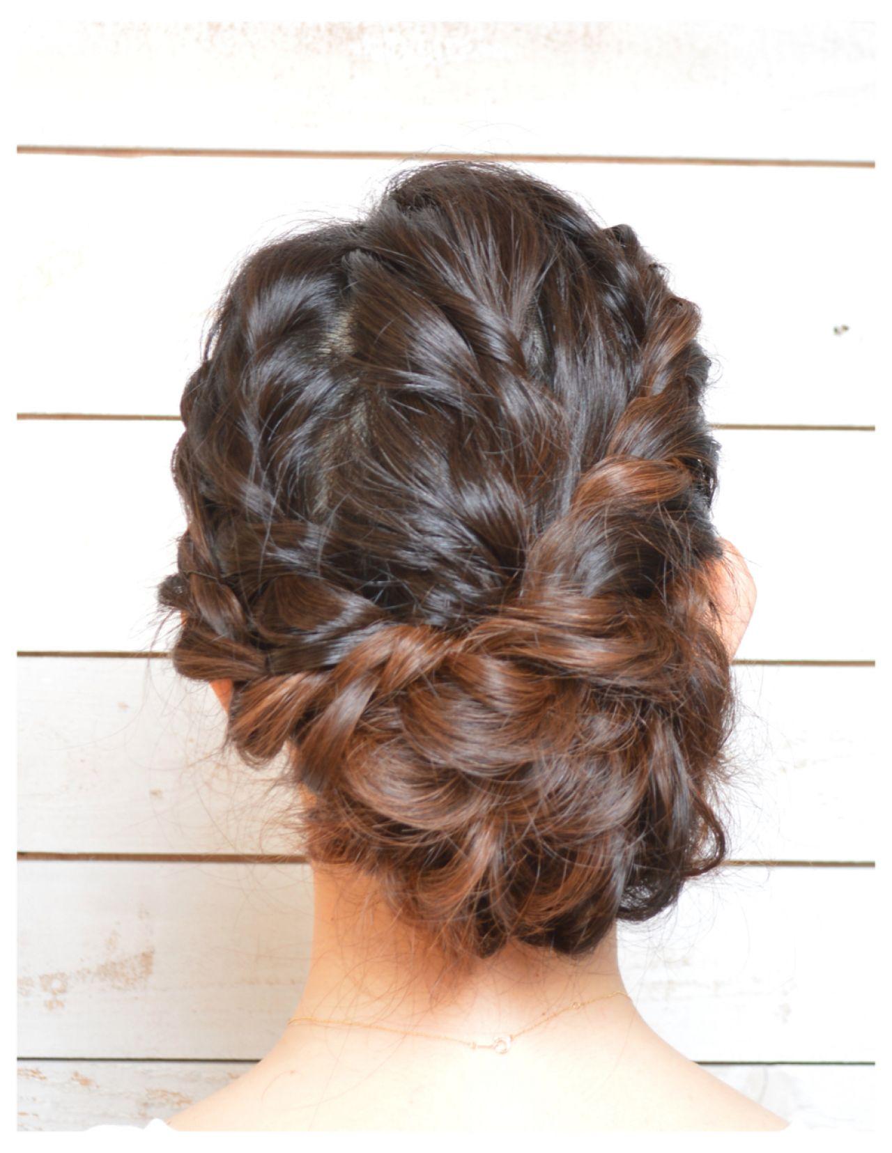 大人かわいい 編み込み パーティ ねじり ヘアスタイルや髪型の写真・画像