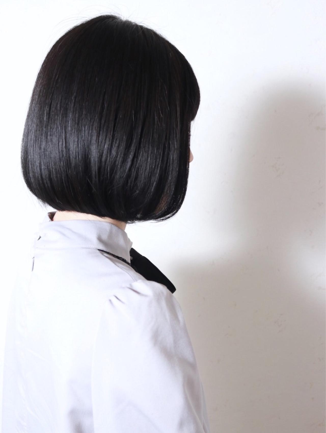 黒髪 暗髪 モード 切りっぱなし ヘアスタイルや髪型の写真・画像 | ホシノショウタ ボブ ショート 新松戸 / VIST by REVO