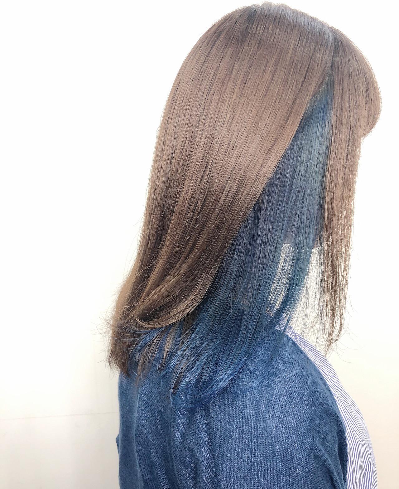 インナーカラー ナチュラル デート 透明感カラー ヘアスタイルや髪型の写真・画像