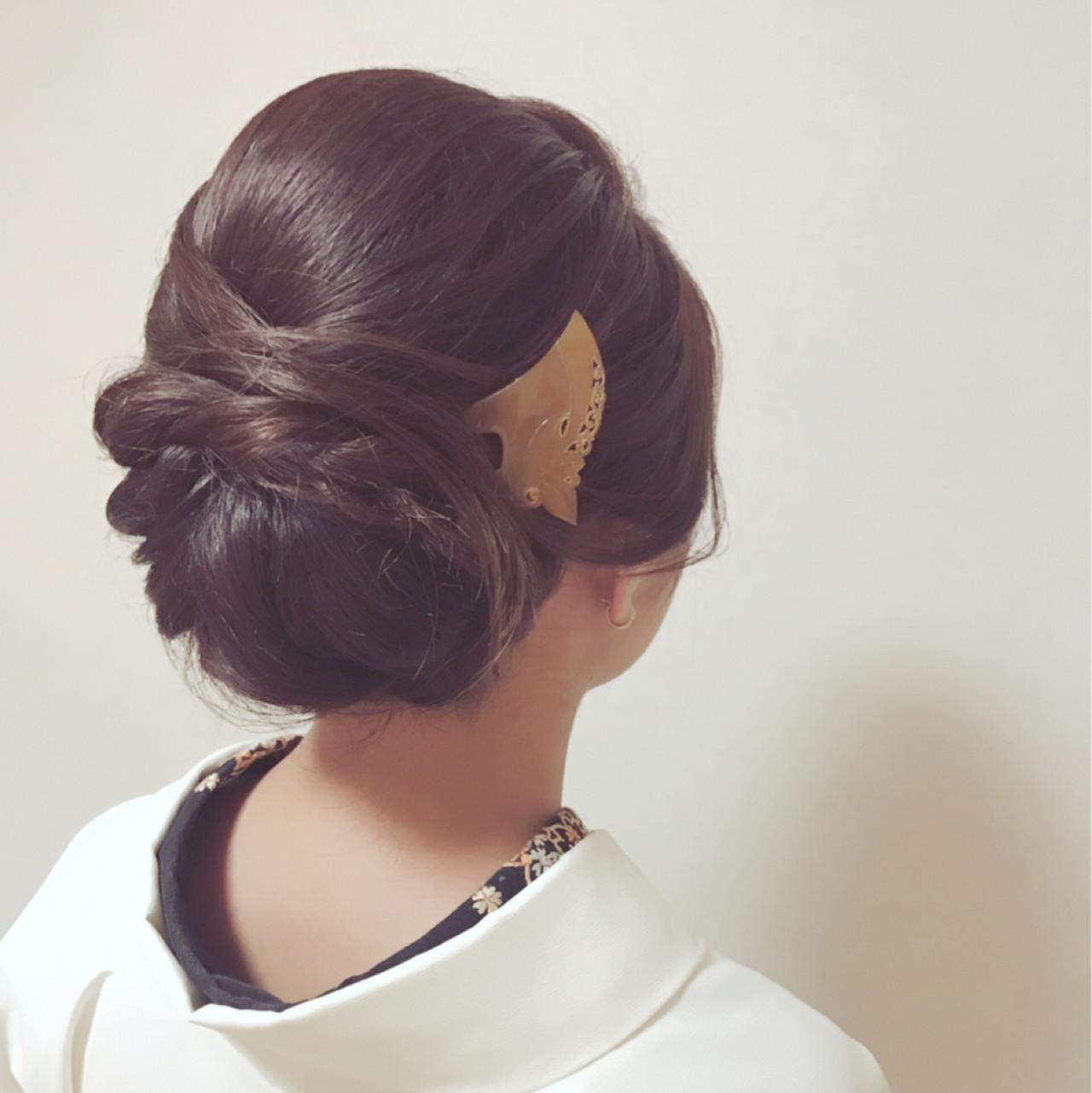 謝恩会 上品 こなれ感 セミロング ヘアスタイルや髪型の写真・画像 | Moriyama Mami / 福岡天神ヘアセット・着付け専門店【Three-keys】