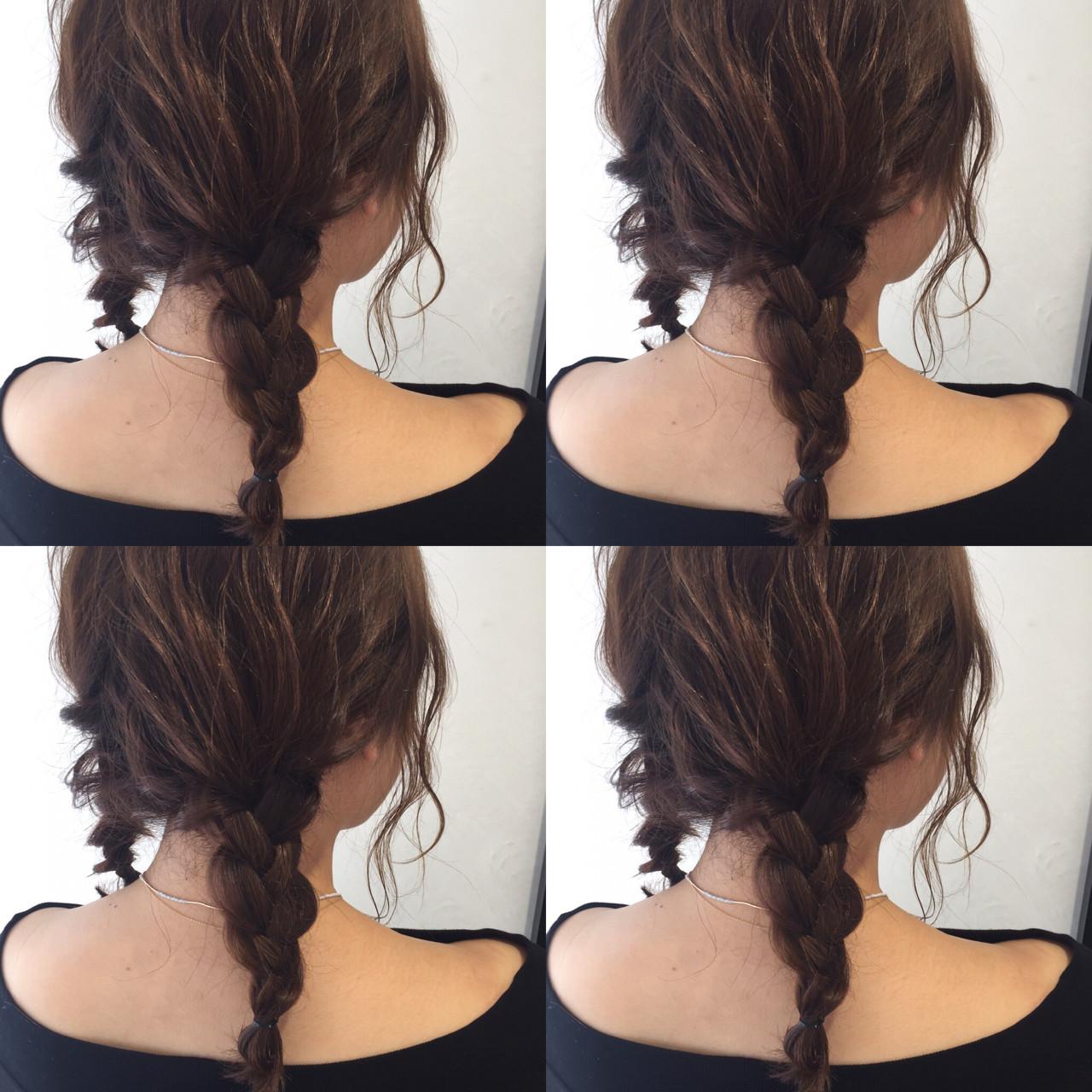 ミディアム ショート 三つ編み 簡単ヘアアレンジ ヘアスタイルや髪型の写真・画像