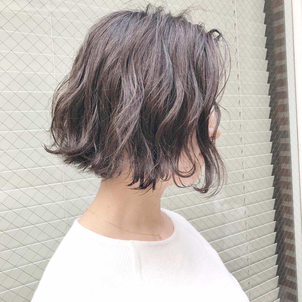 ボブ アンニュイ ニュアンス ナチュラル ヘアスタイルや髪型の写真・画像