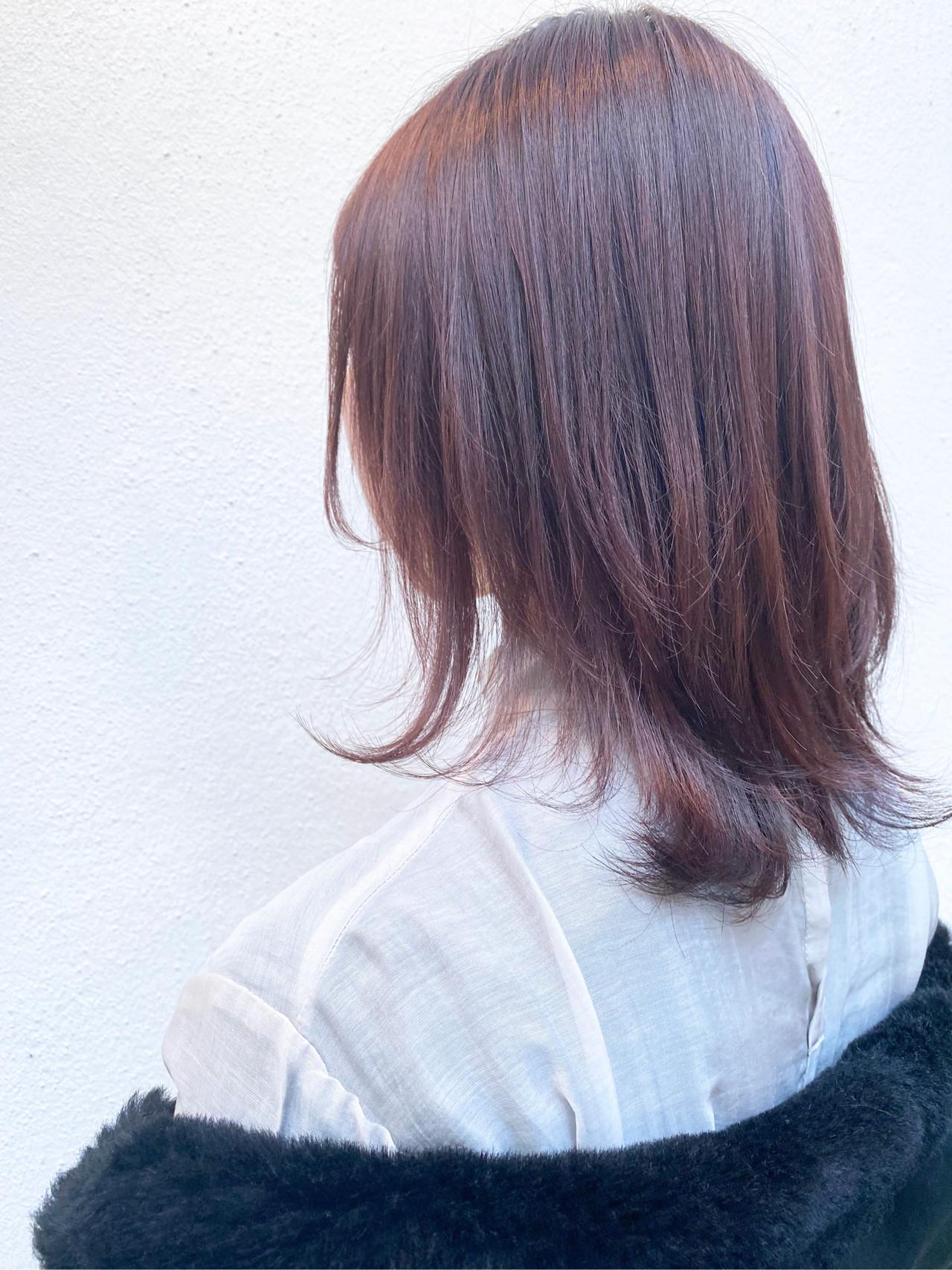 切りっぱなしボブ ピンクバイオレット フェミニン インナーカラー ヘアスタイルや髪型の写真・画像