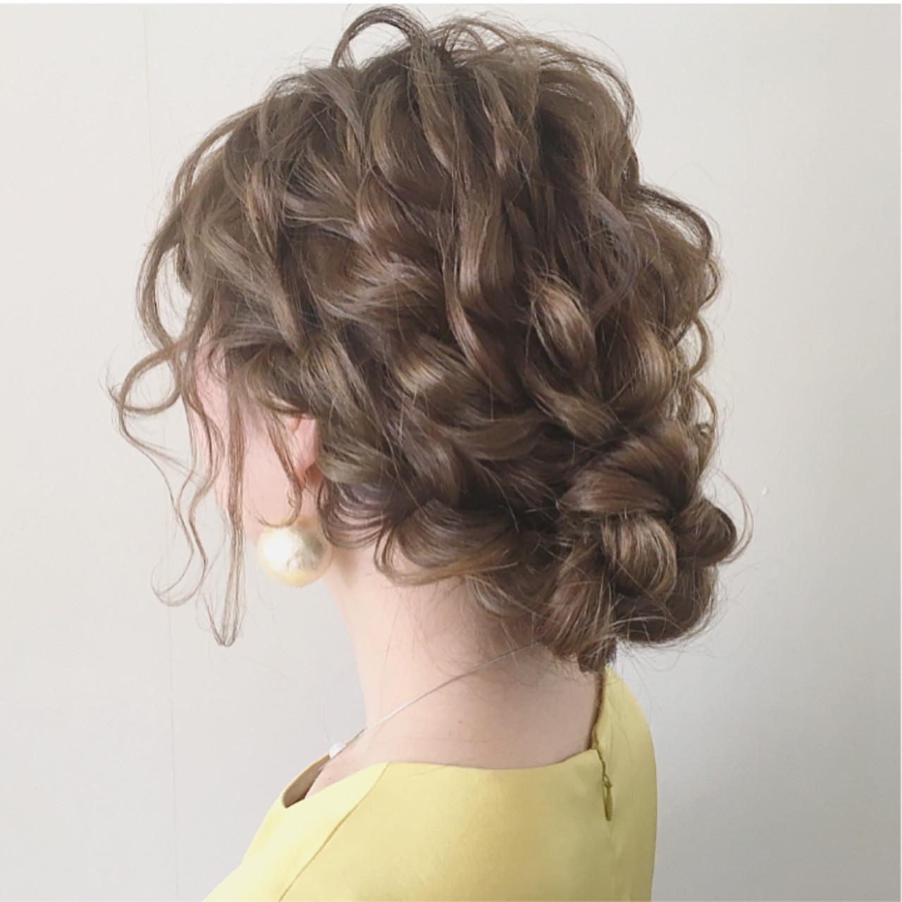ガーリー ナチュラル 結婚式 ミディアム ヘアスタイルや髪型の写真・画像