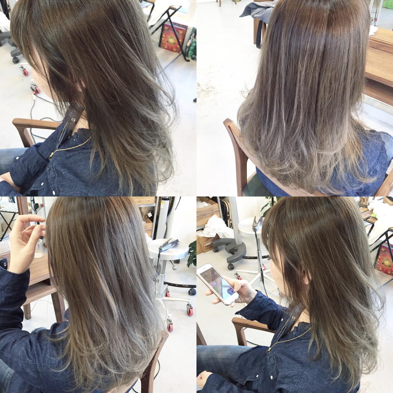 セミロング グラデーションカラー ストレート 大人かわいい ヘアスタイルや髪型の写真・画像   原木翔太 / lufun hair design  ルファン