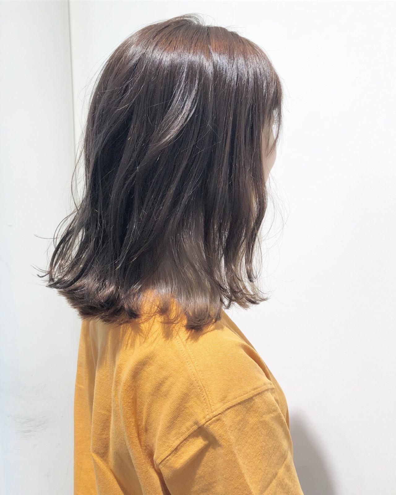 エフォートレス インナーカラー フェミニン ロブ ヘアスタイルや髪型の写真・画像
