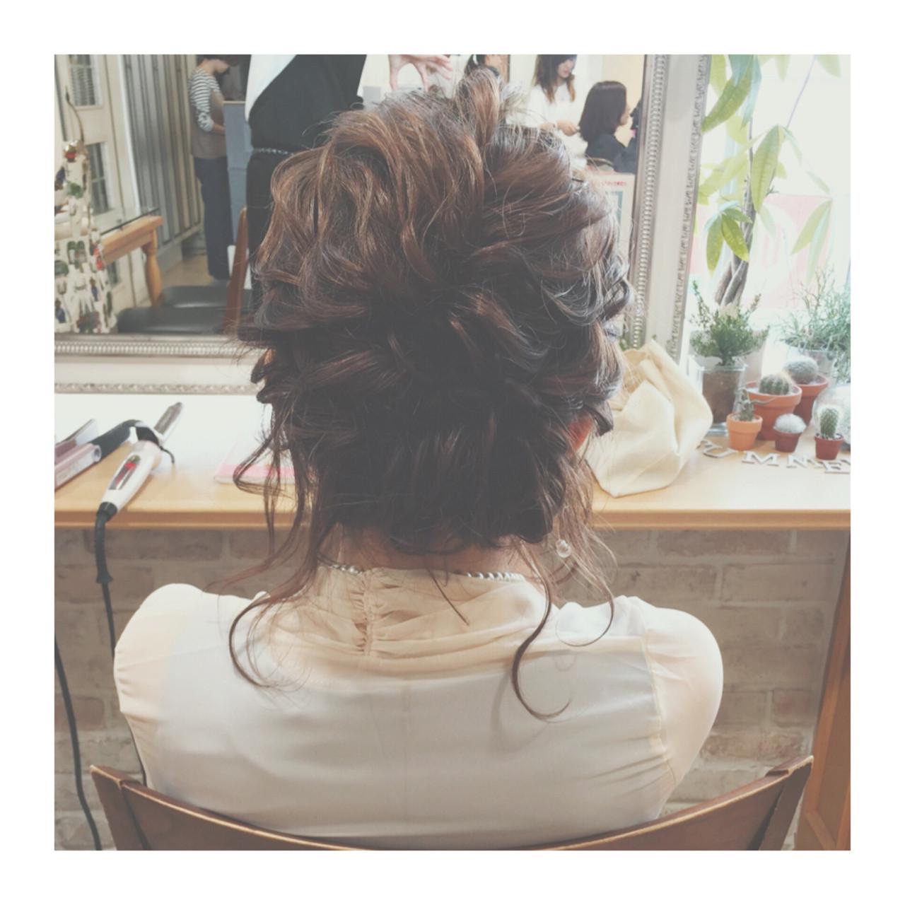簡単ヘアアレンジ セミロング ヘアアレンジ ゆるふわ ヘアスタイルや髪型の写真・画像