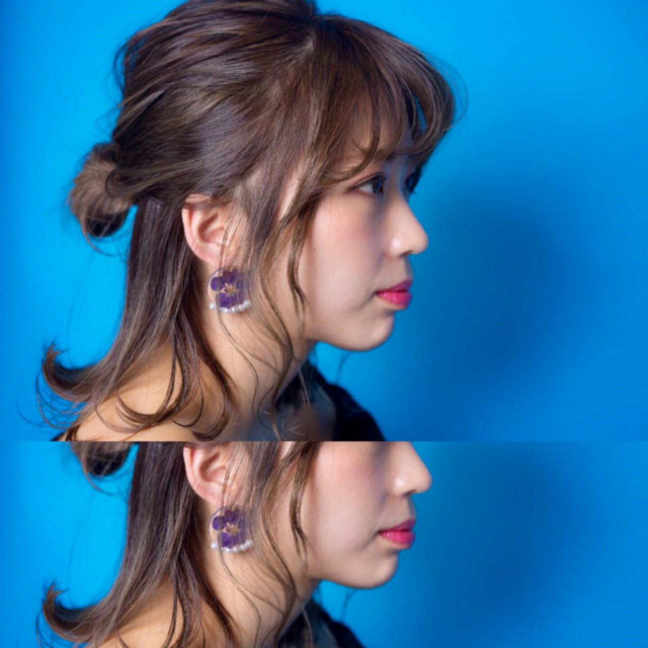フェミニン 簡単ヘアアレンジ ボブ ヘアアレンジ ヘアスタイルや髪型の写真・画像