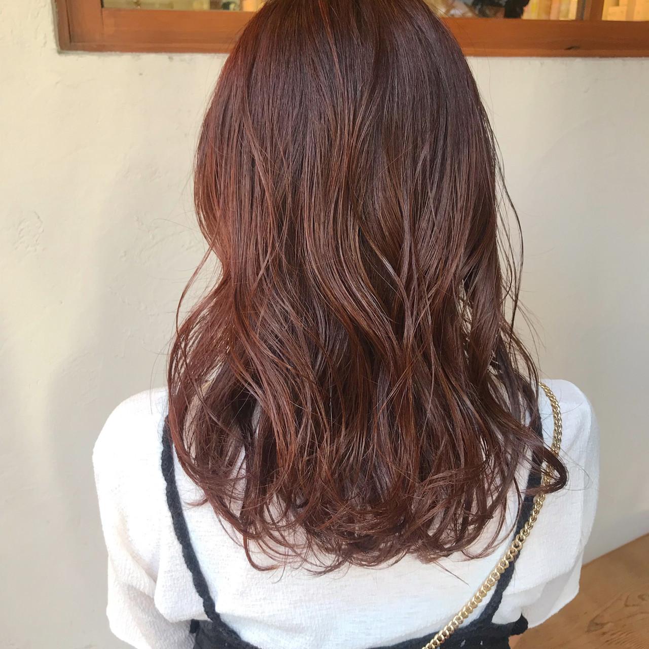 ミディアム アプリコットオレンジ オレンジ オレンジベージュ ヘアスタイルや髪型の写真・画像   杉本あさか asa / buzz北堀江