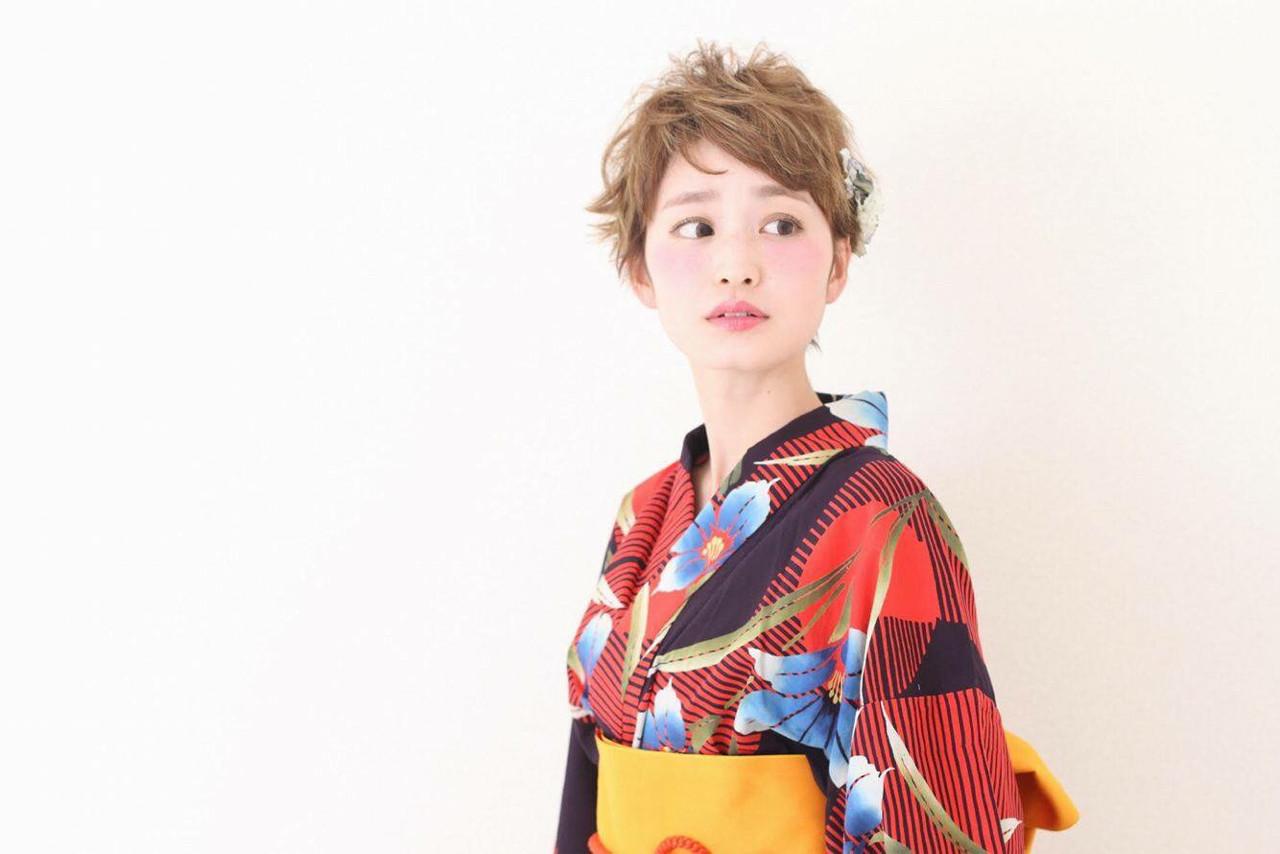 外国人風 大人かわいい ショート フェミニン ヘアスタイルや髪型の写真・画像