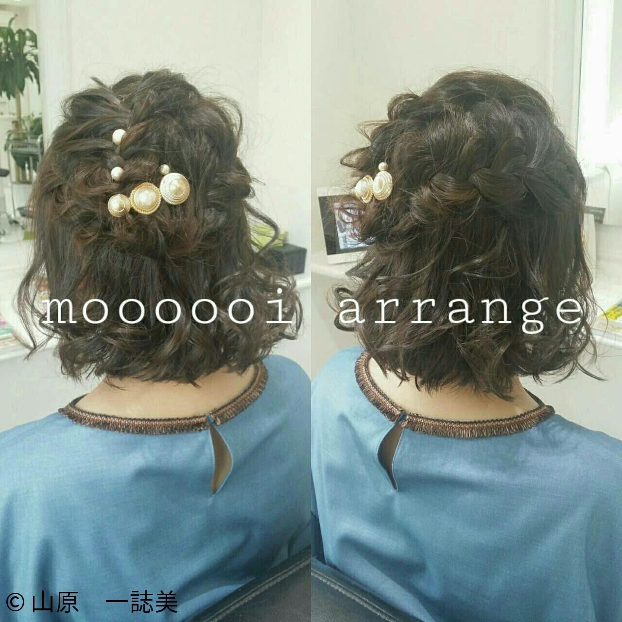 ガーリー ショート 簡単ヘアアレンジ ボブ ヘアスタイルや髪型の写真・画像 | 山原 一誌美 / moooooi HAIR SPACE