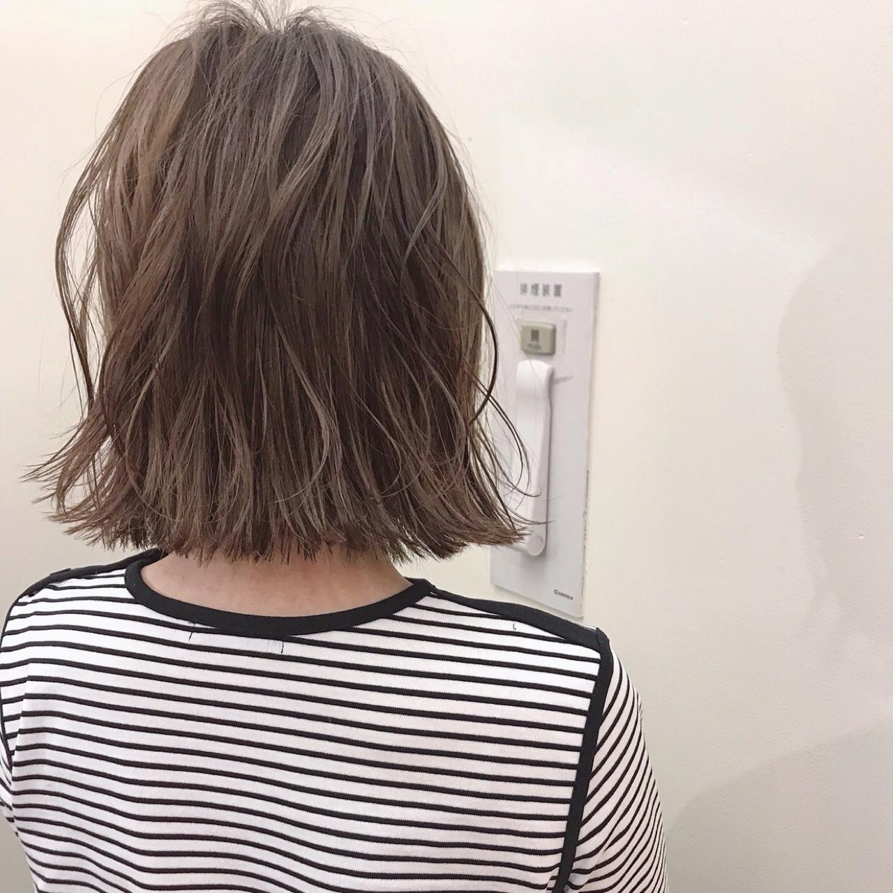 ハイライト ボブ ロブ デート ヘアスタイルや髪型の写真・画像 | yumiko/sapporoSKNOW / SKNOW