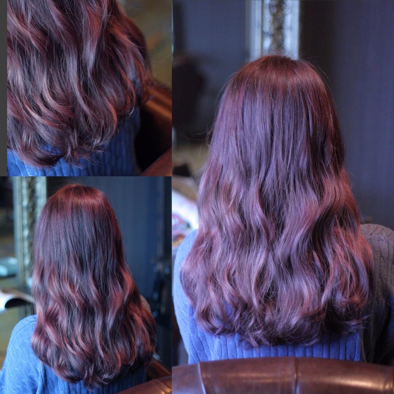 セミロング ゆるふわ ウェーブ ピンク ヘアスタイルや髪型の写真・画像