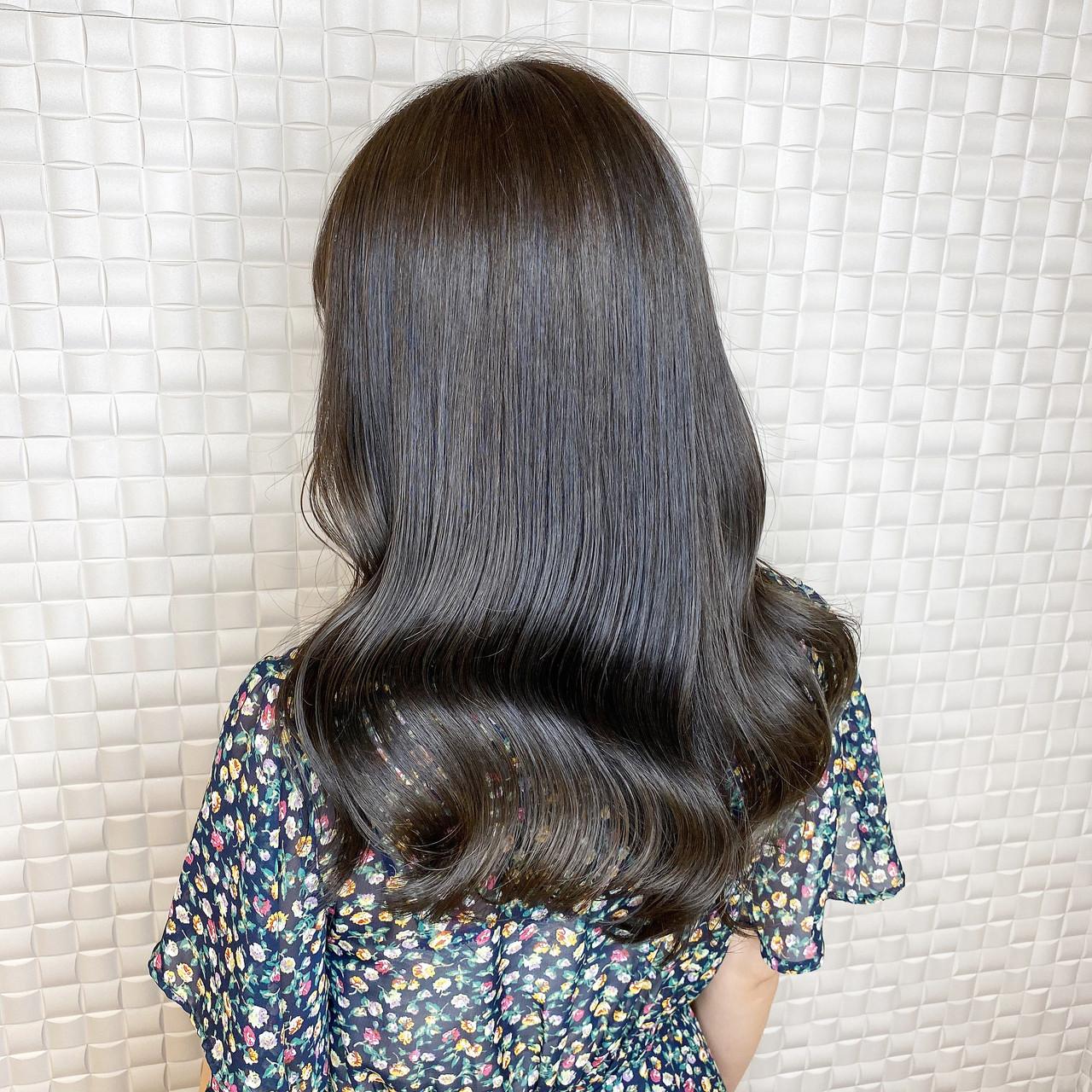 韓国ヘア ミディアム モード 韓国風ヘアー ヘアスタイルや髪型の写真・画像