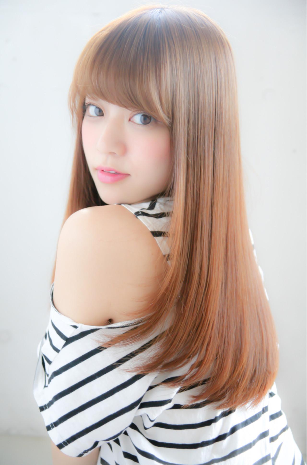 縮毛矯正 セミロング ナチュラル 艶髪 ヘアスタイルや髪型の写真・画像