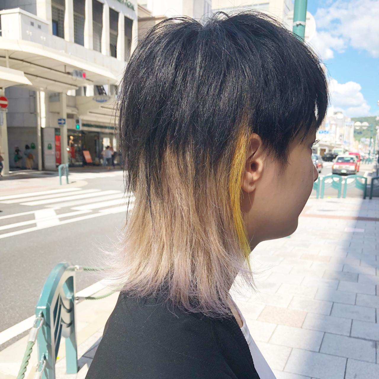 ウルフカット ブリーチ ミディアム モード ヘアスタイルや髪型の写真・画像 | 元橋啓太 / snob