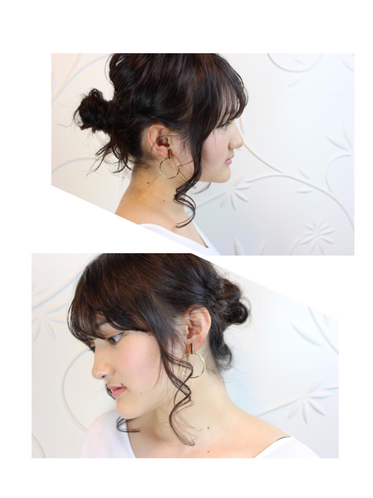 デート ウェーブ ショート ヘアアレンジ ヘアスタイルや髪型の写真・画像