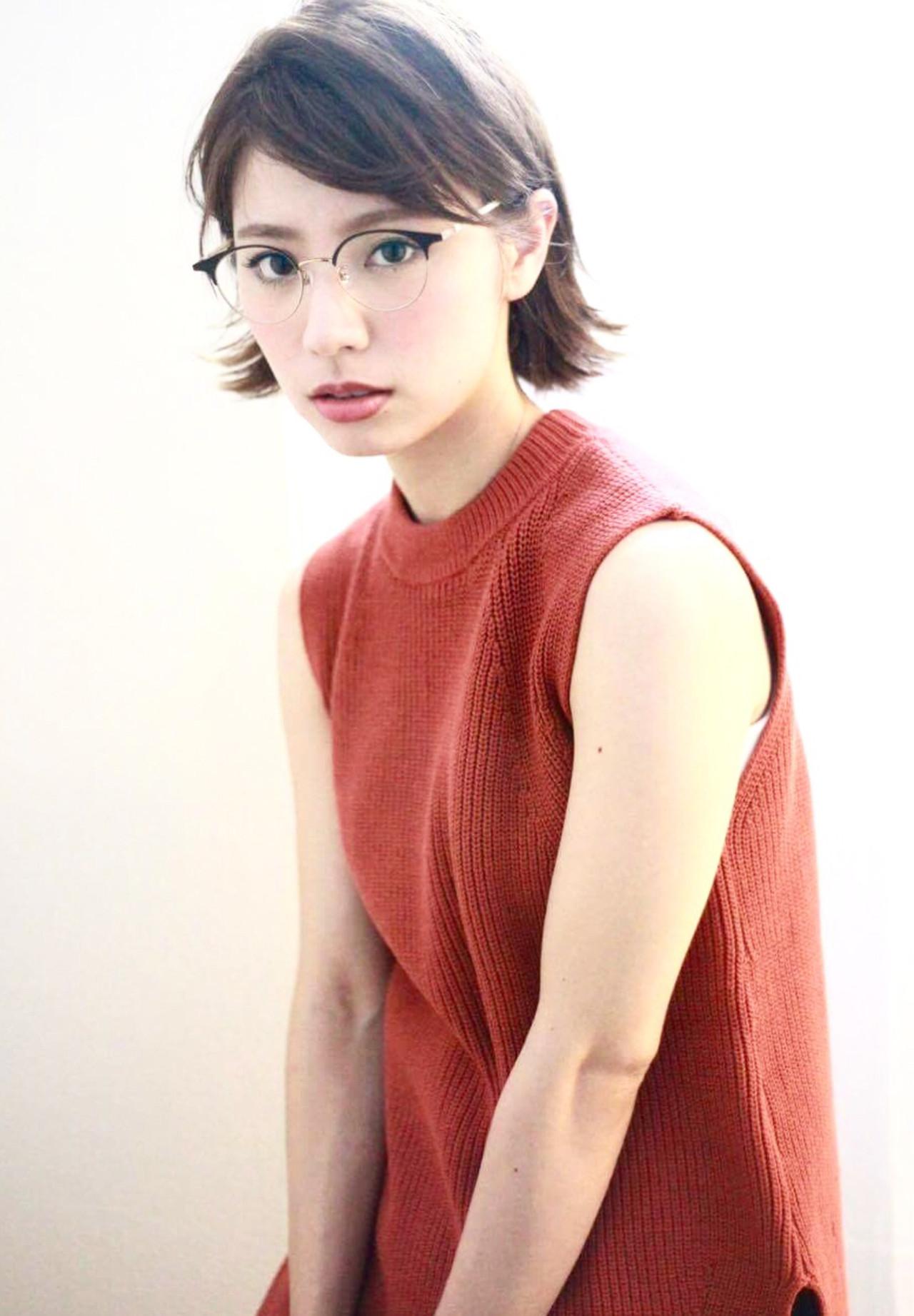 色気 前髪あり アッシュ ショート ヘアスタイルや髪型の写真・画像 | 藤城 吉晃 / glad NATURAL HAIR