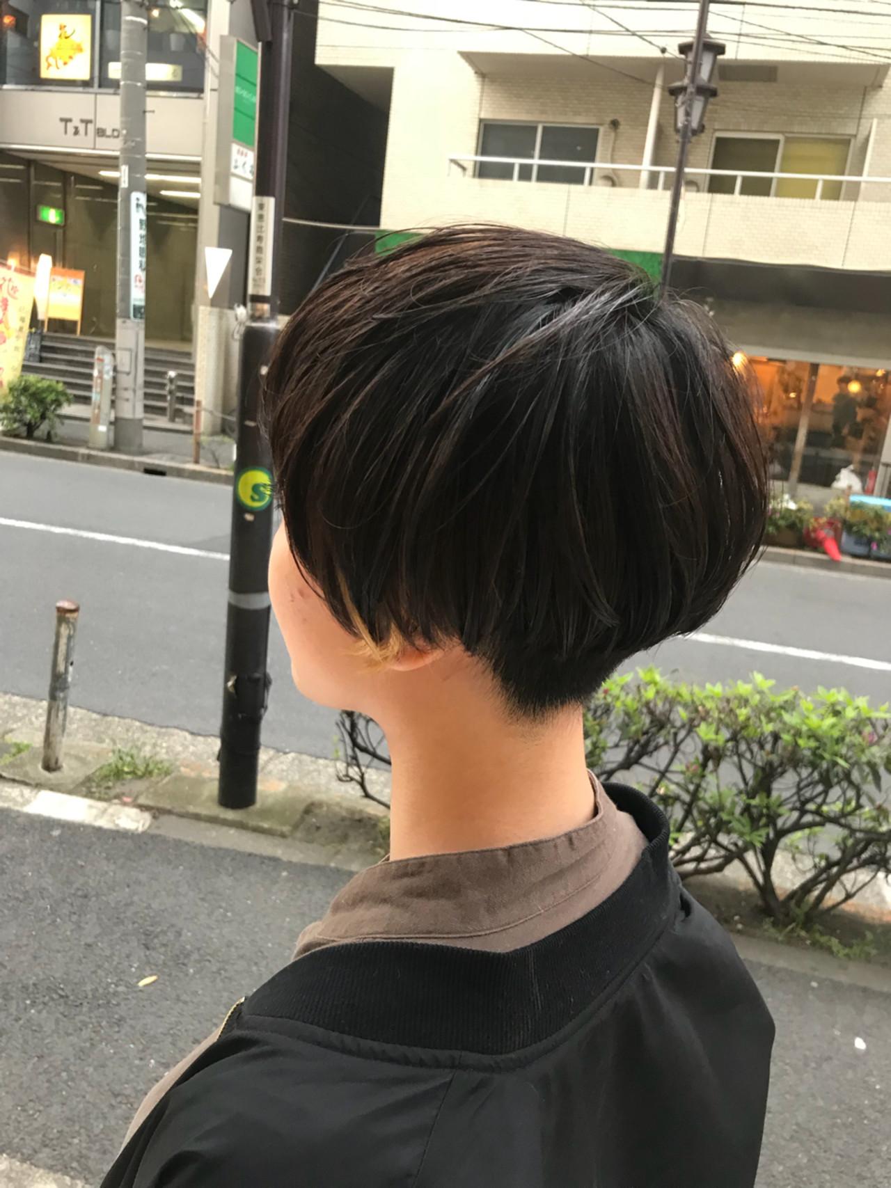 似合わせ ショートボブ 刈り上げ 小顔 ヘアスタイルや髪型の写真・画像