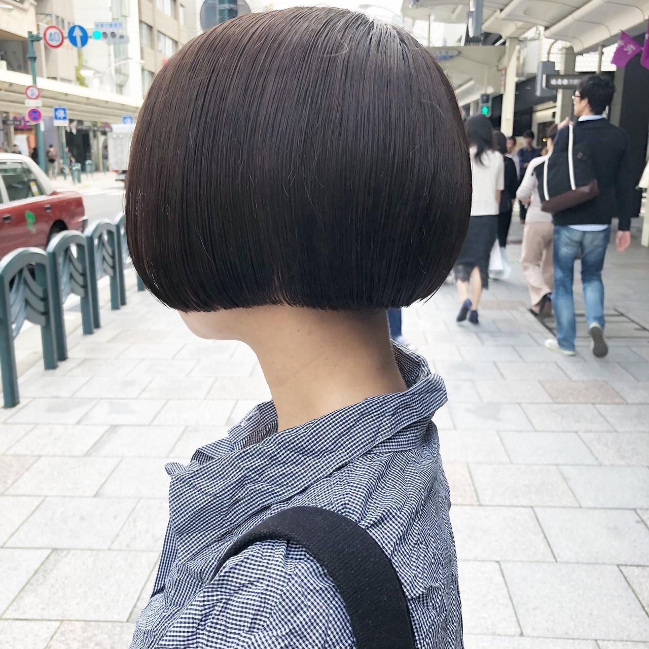ボブ ナチュラル ミニボブ 切りっぱなしボブ ヘアスタイルや髪型の写真・画像 | 元橋啓太 / snob