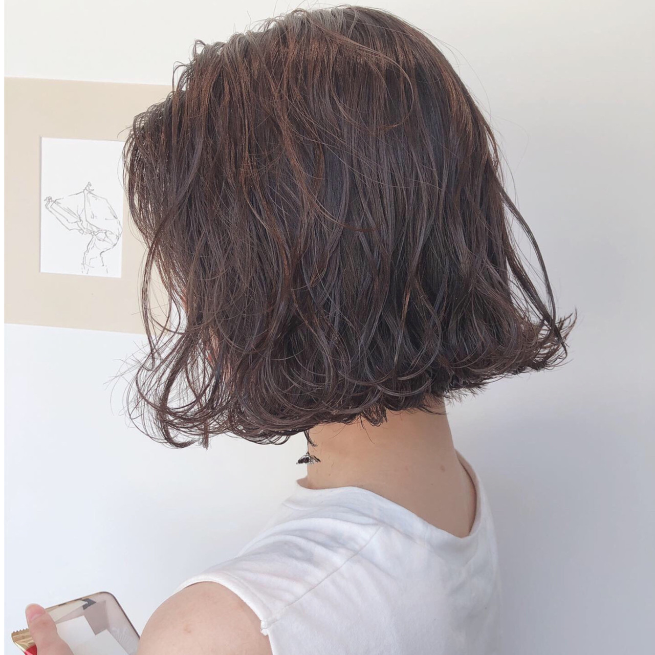 ボブ ナチュラル ラベンダーグレージュ アッシュグレージュ ヘアスタイルや髪型の写真・画像