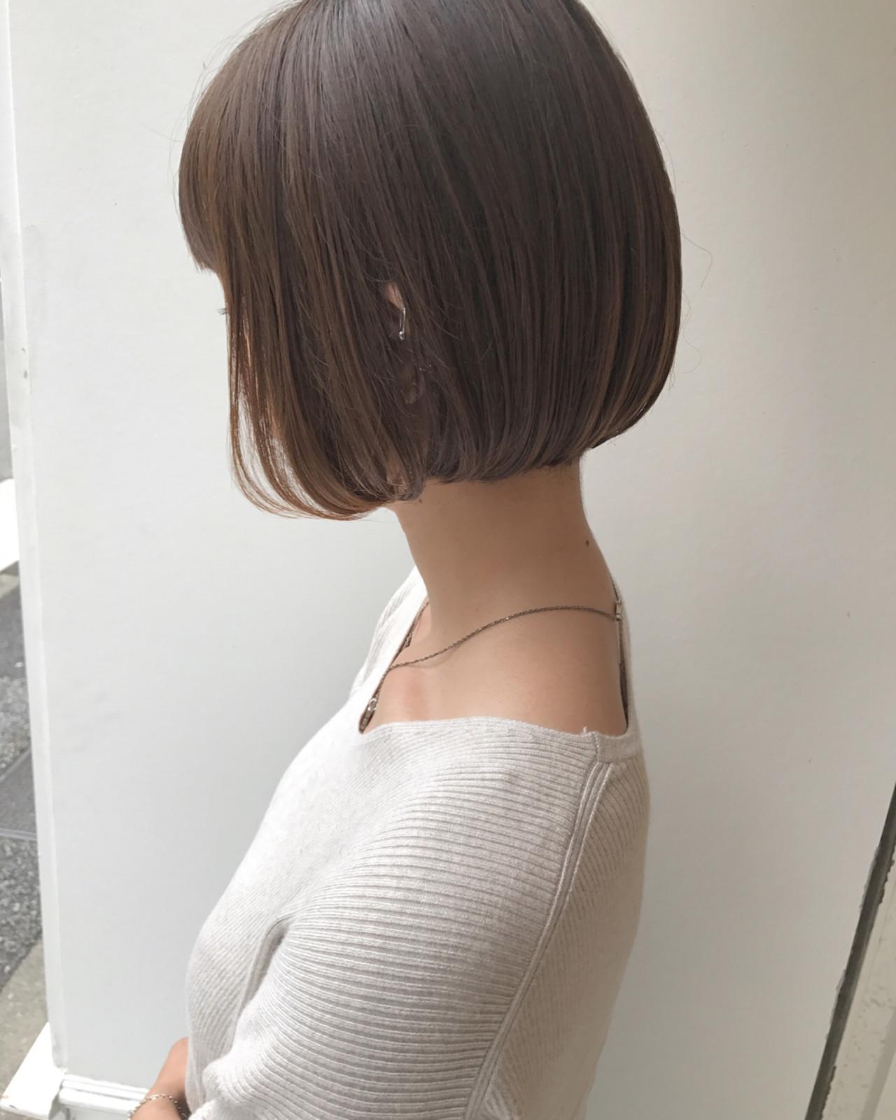 透明感 ショートボブ 秋 ハイライト ヘアスタイルや髪型の写真・画像