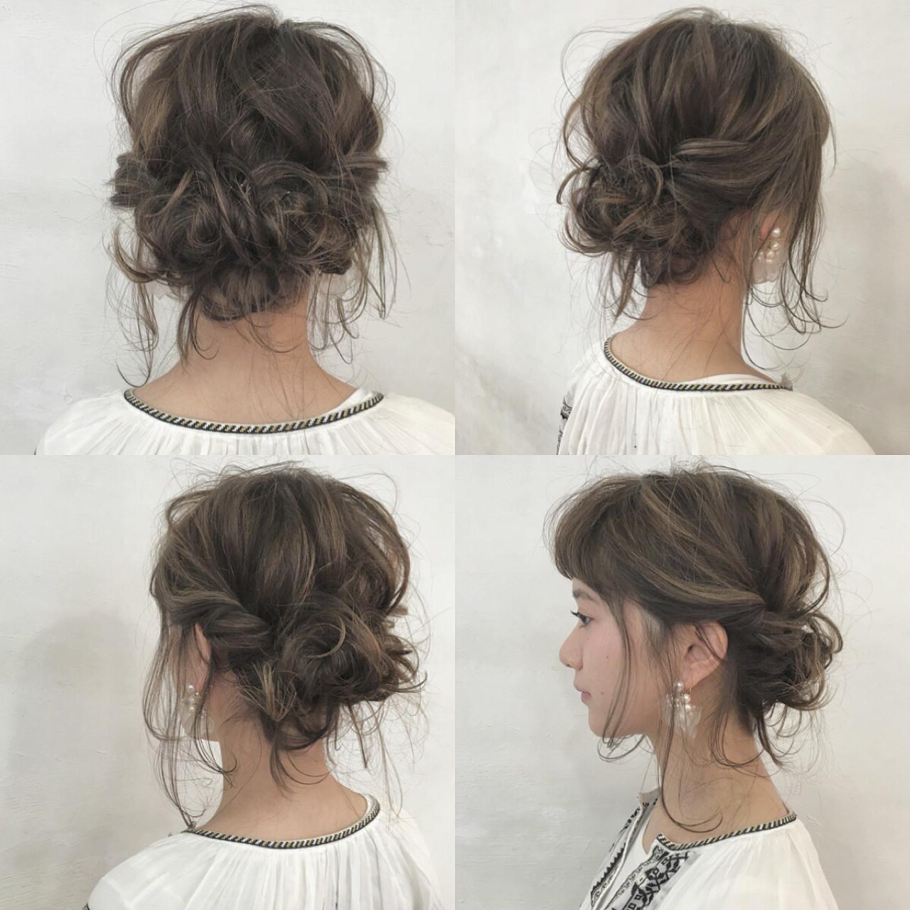 ヘアアレンジ 編み込み インナーカラー ショート ヘアスタイルや髪型の写真・画像