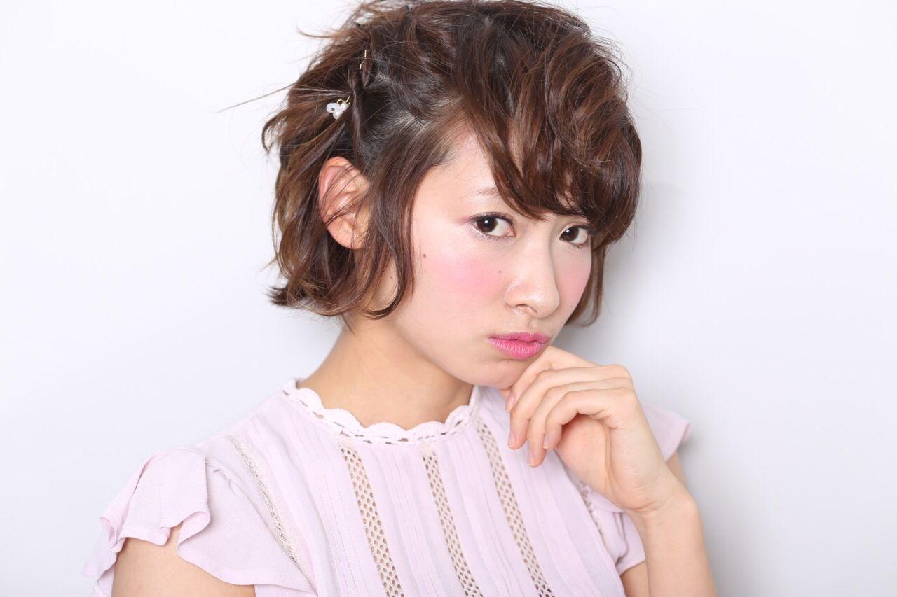 ショート ヘアアレンジ ガーリー スウィート ヘアスタイルや髪型の写真・画像