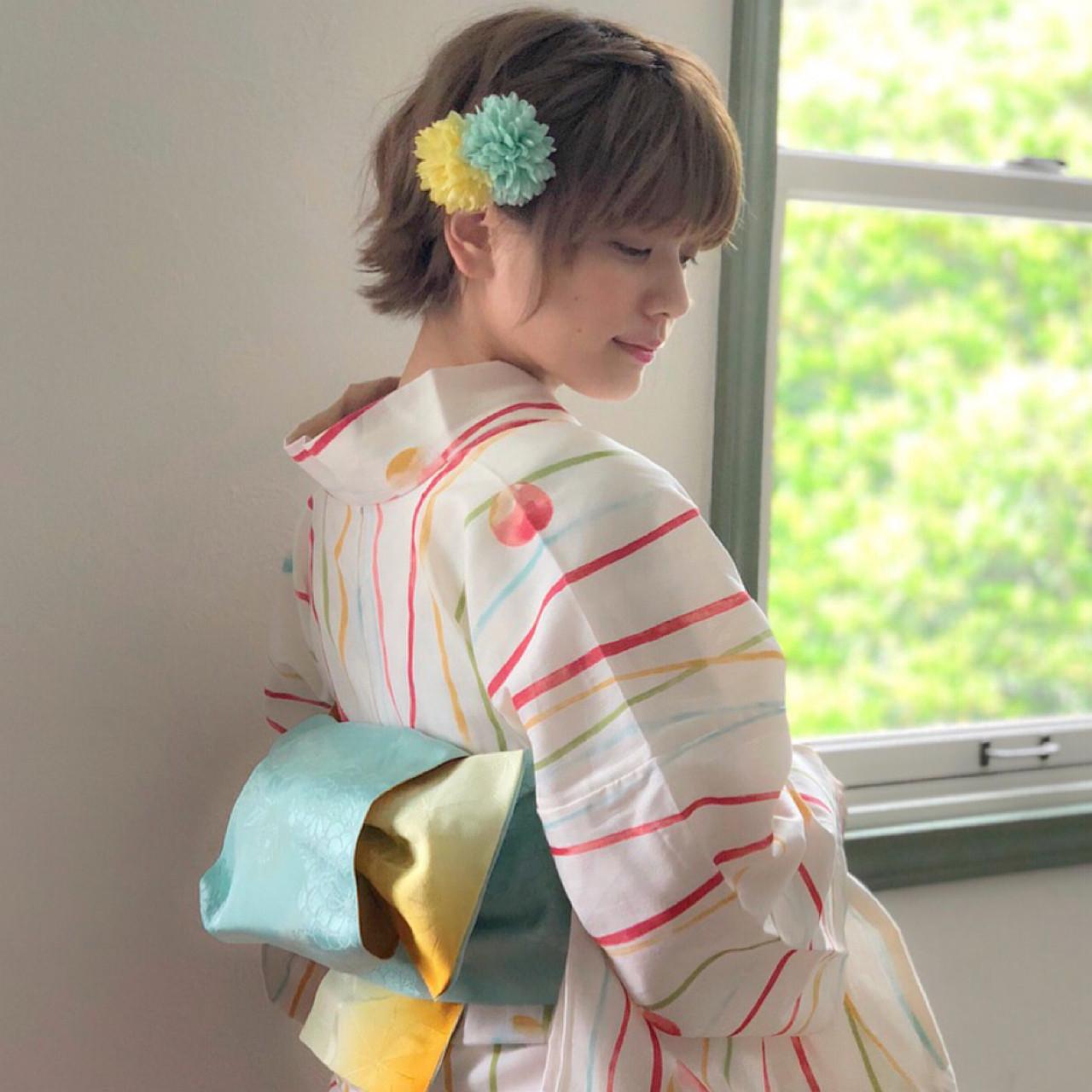 夏 花火大会 色気 ショート ヘアスタイルや髪型の写真・画像