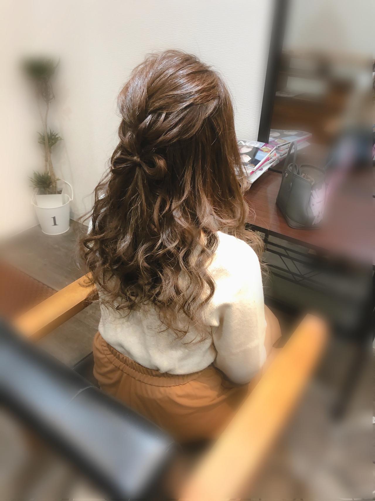 ヘアセット 編み込み ガーリー りぼん ヘアスタイルや髪型の写真・画像