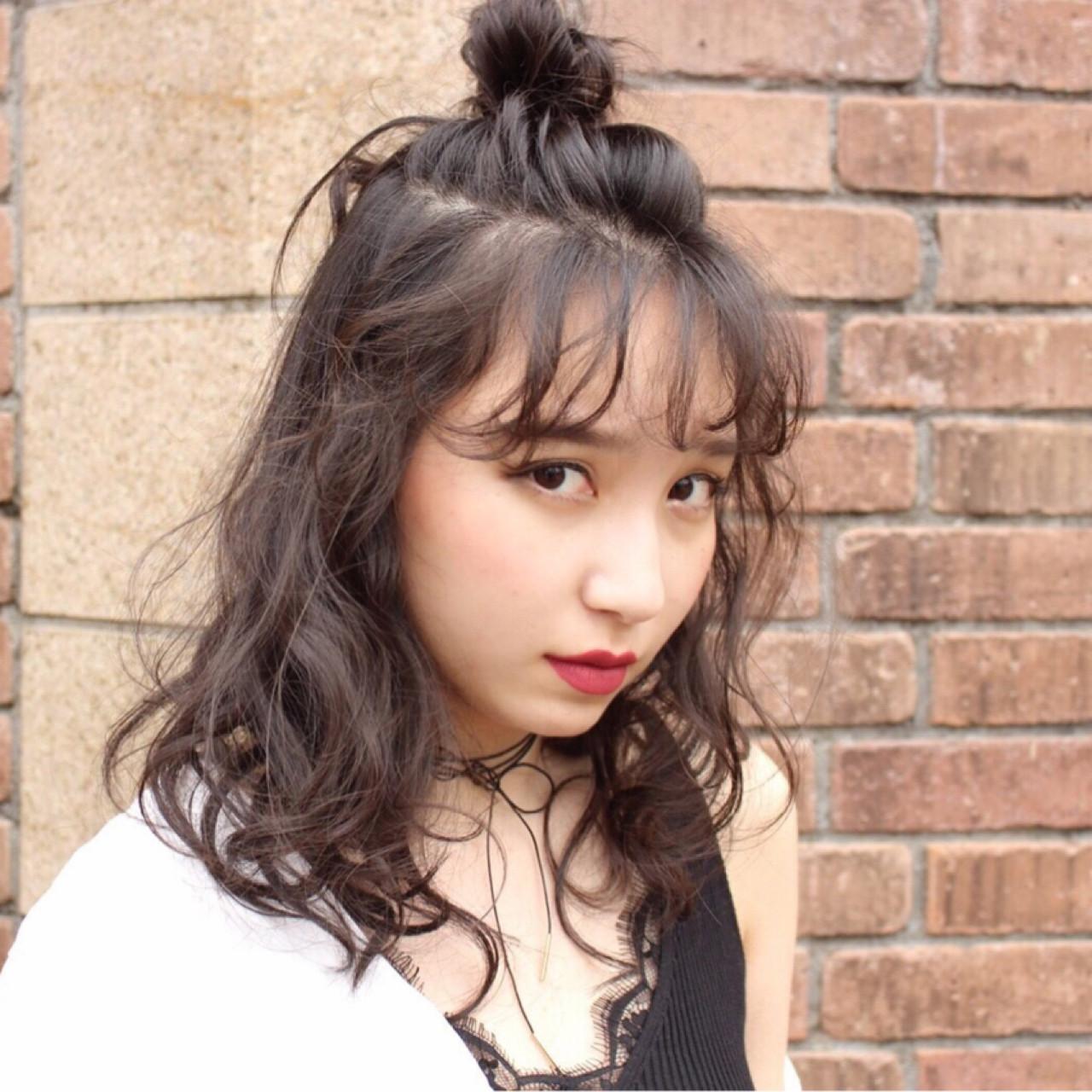黒髪 ヘアアレンジ お団子 エレガント ヘアスタイルや髪型の写真・画像