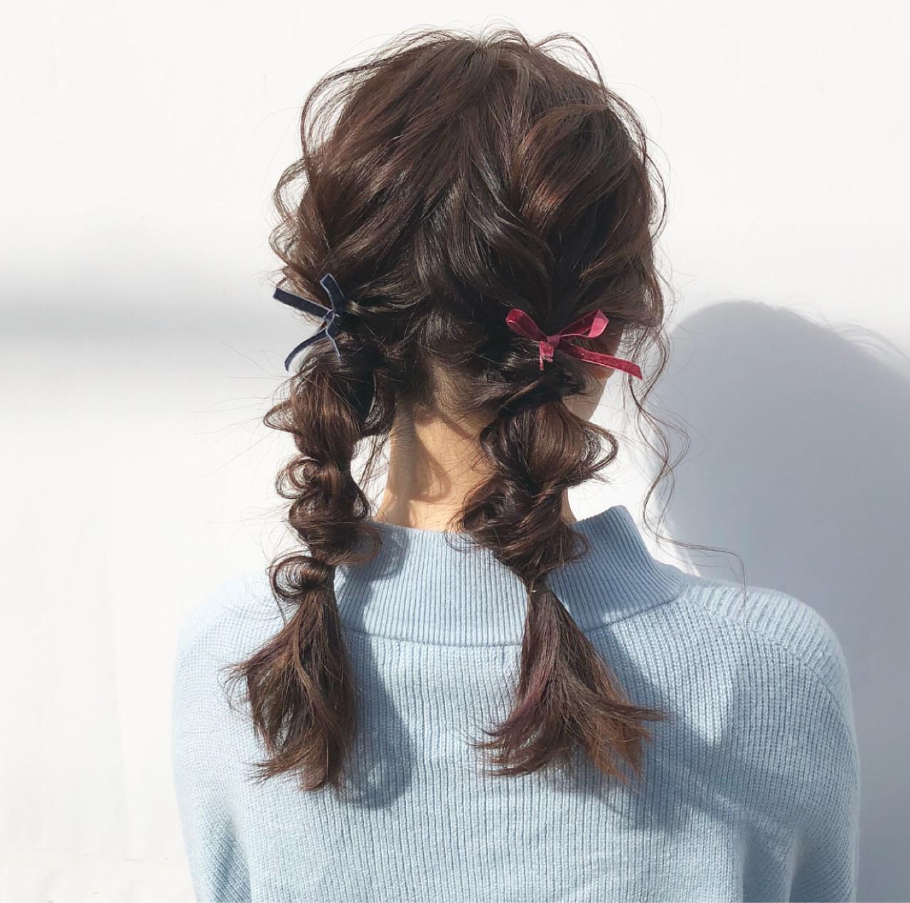 セミロング デート ガーリー ヘアアレンジ ヘアスタイルや髪型の写真・画像